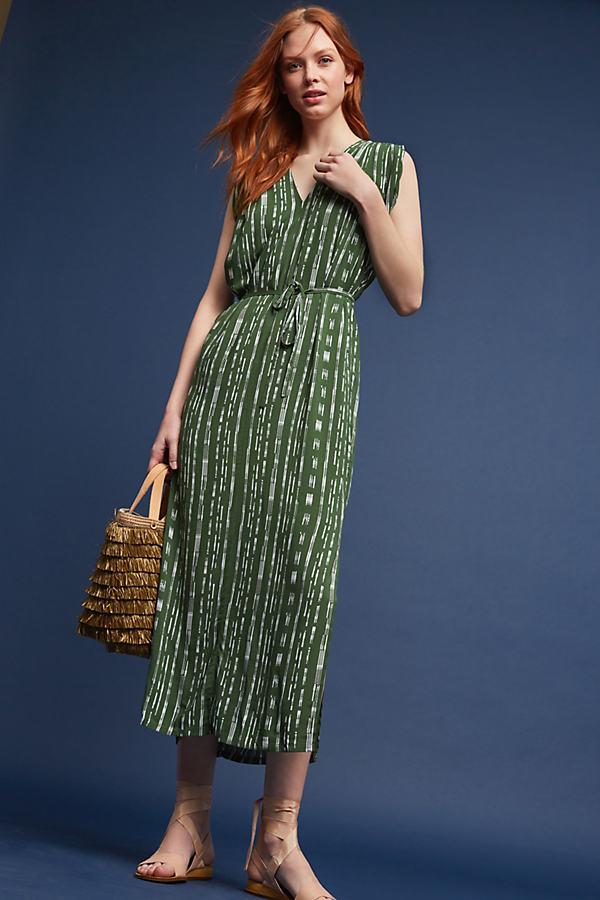 Rhiannon Pleated-Shoulder Dress, Green - Moss, Size Xl