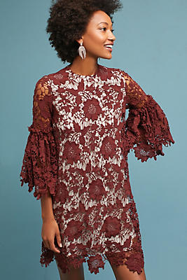 Slide View: 1: Korovilas Lace Bell-Sleeve Shift Dress