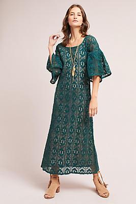 Slide View: 3: Korovilas Lace Bell-Sleeve Dress