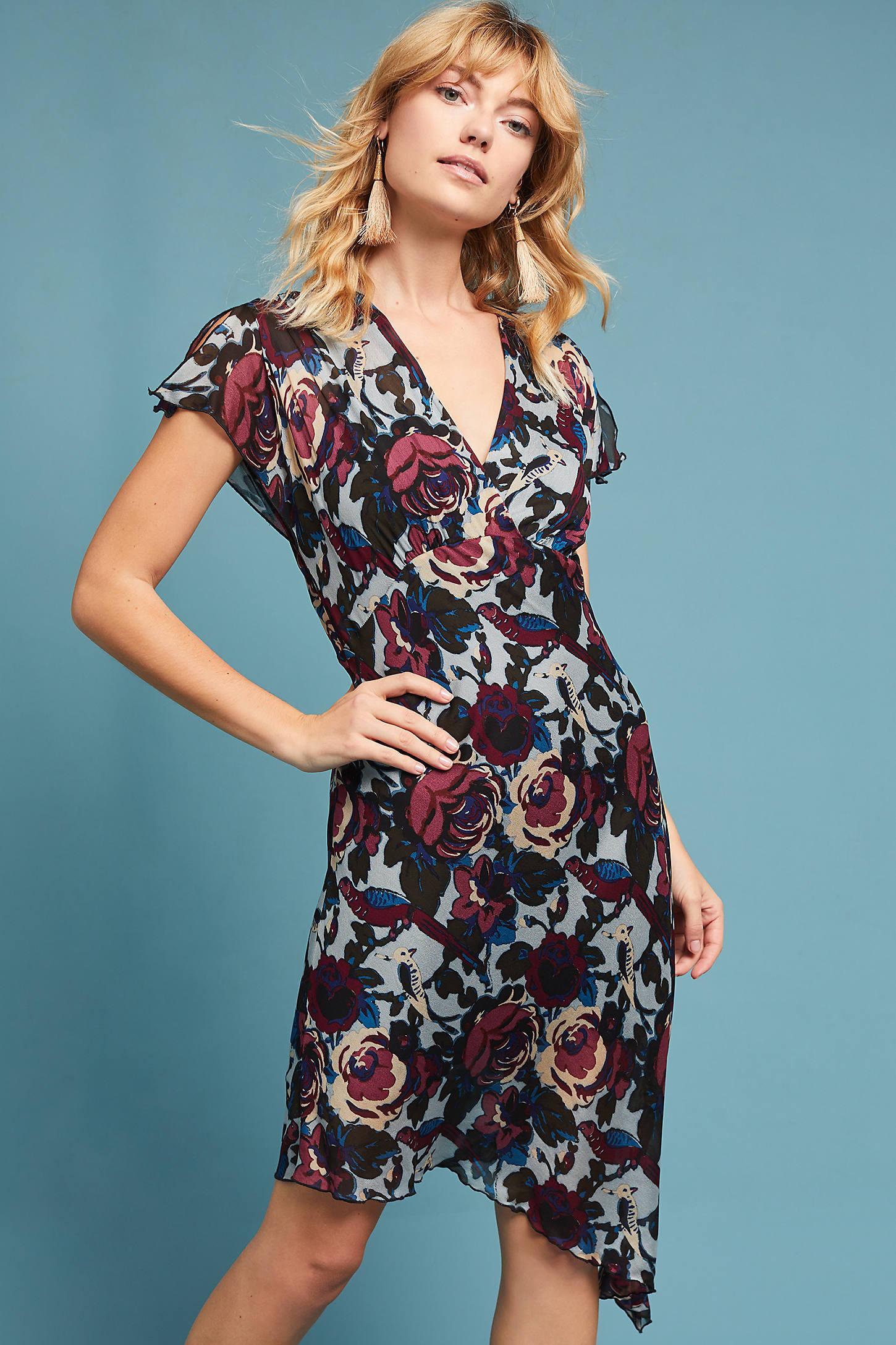 Anna Sui Asymmetrical Floral Dress