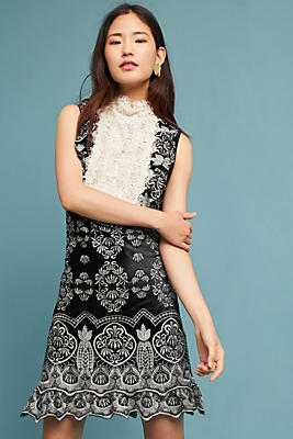 Slide View: 1: Anna Sui Embroidered Victorian Velvet Dress