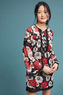 Slide View: 1: Anna Sui Field of Poppies Silk Tunic Dress
