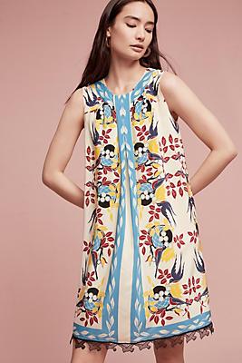 Slide View: 1: Bird's Nest Silk Tunic Dress