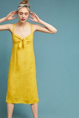Three Dots   Chetwyn Linen Dress  -    GOLD