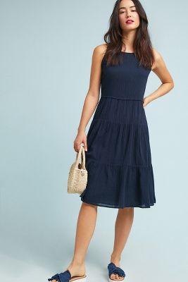 Three Dots   Iris Midi Petite Dress  -    NAVY