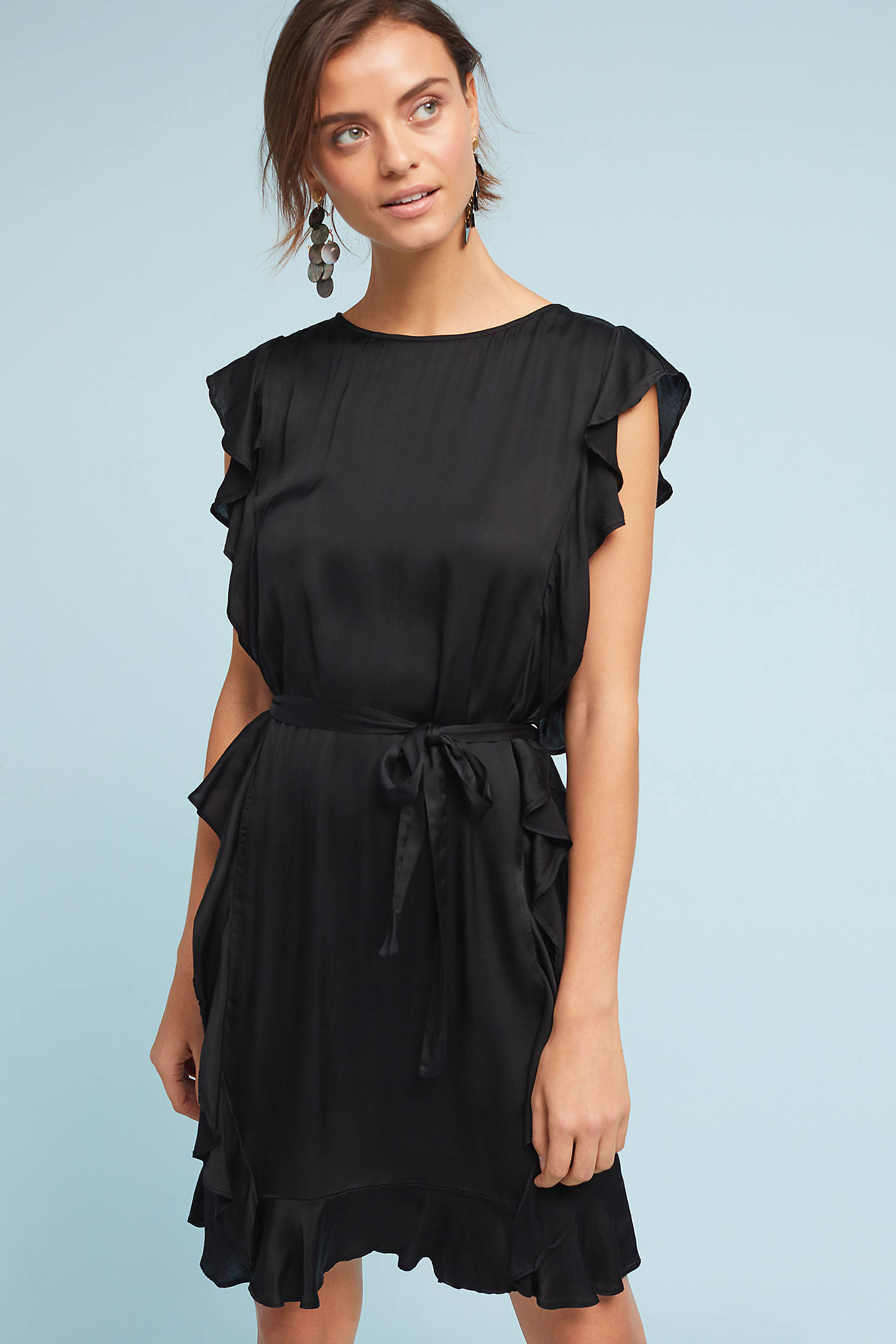 Ruffled & Belted Shift Dress