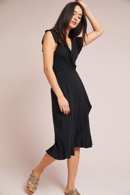 Velvet by Graham & Spencer   Corolla Wrap Dress  -    BLACK