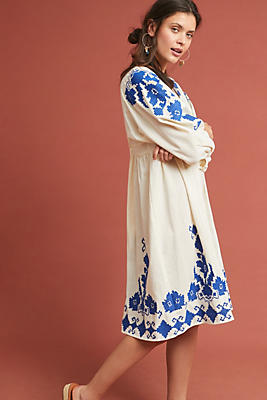 Slide View: 1: Jora Embroidered Peasant Dress
