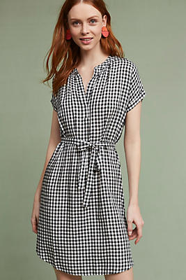 Slide View: 1: Belted Gingham Tunic Dress