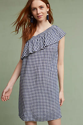 Slide View: 1: Emmeline One-Shoulder Gingham Tunic Dress