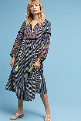 Slide View: 1: Lantern Embroidered Midi Dress
