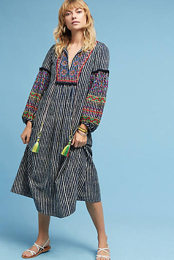 Lantern Embroidered Midi Dress