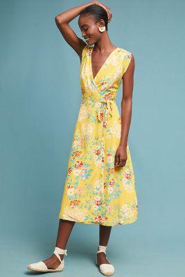Yumi Kim   Lorie Silk Wrap Dress  -    YELLOW MOTIF