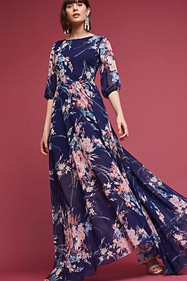 Slide View: 1: Navy Garden Maxi Dress