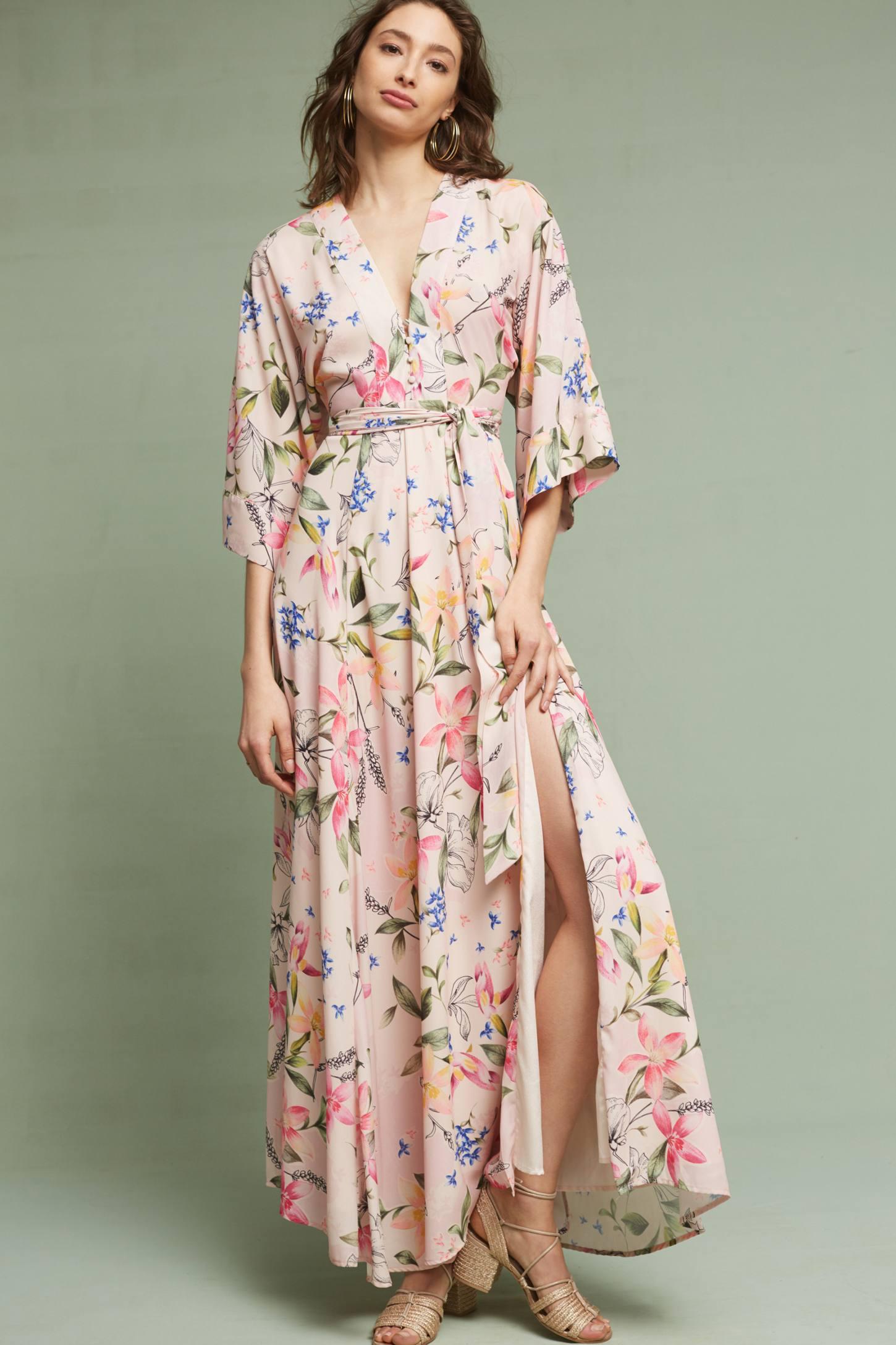 Floral Kimono Maxi Dress Anthropologie
