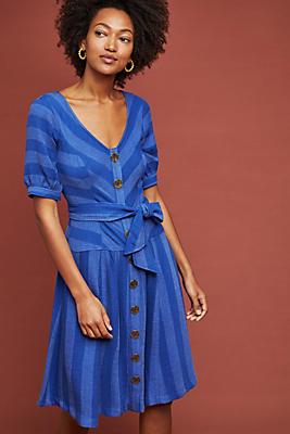 Slide View: 1: Tonal Striped Buttondown Dress