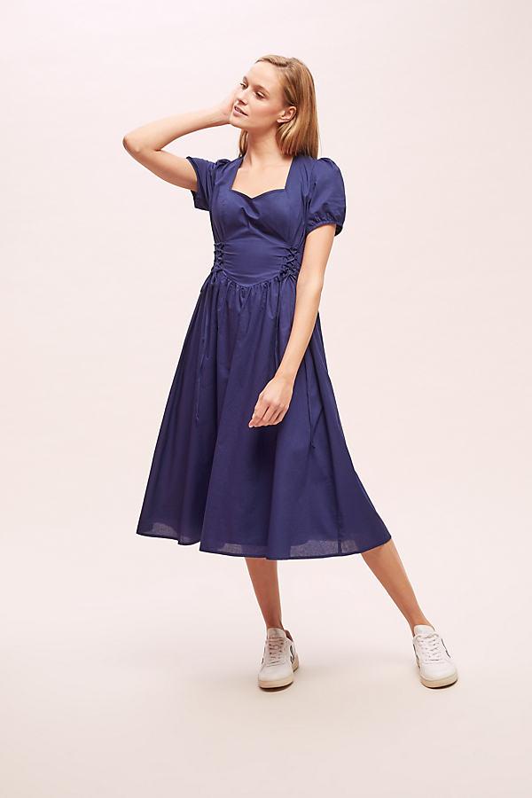 Georgina Lace-Bodice Dress - Blue, Size Uk 6