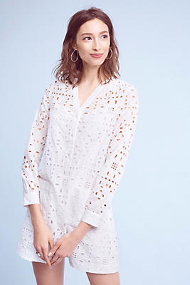 Slide View: 1: Geo Eyelet Shirtdress