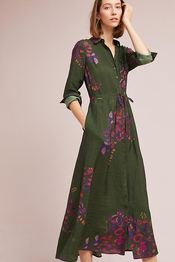 Printed Maxi Shirtdress - Green Motif, Size Xl