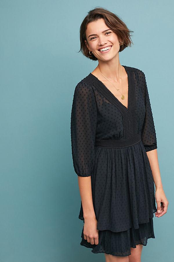 Minetta Tiered Dress - Black, Size Uk 14