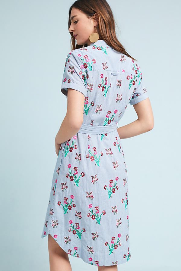 Slide View: 3: Embroidered Shirtdress