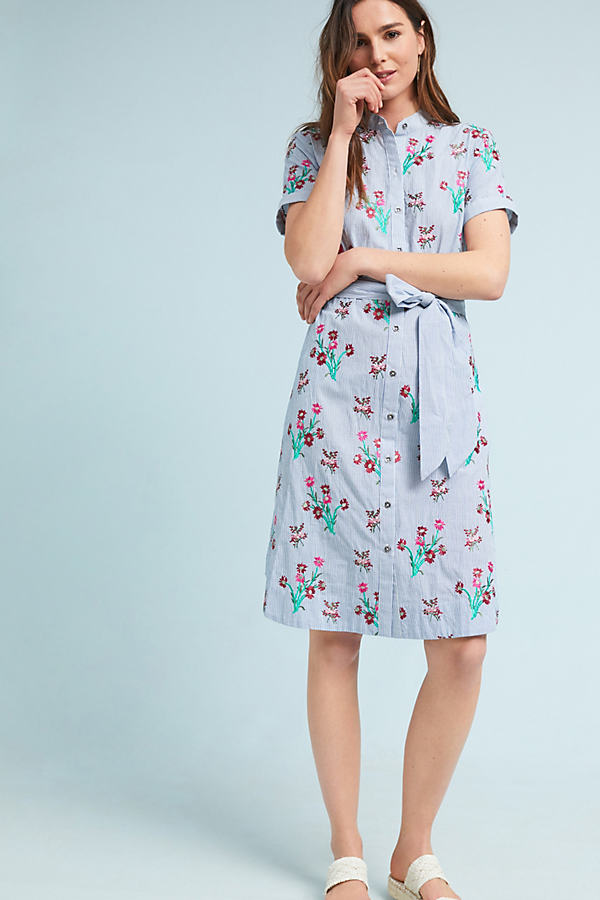 Embroidered Shirtdress - Blue Motif, Size Uk 10
