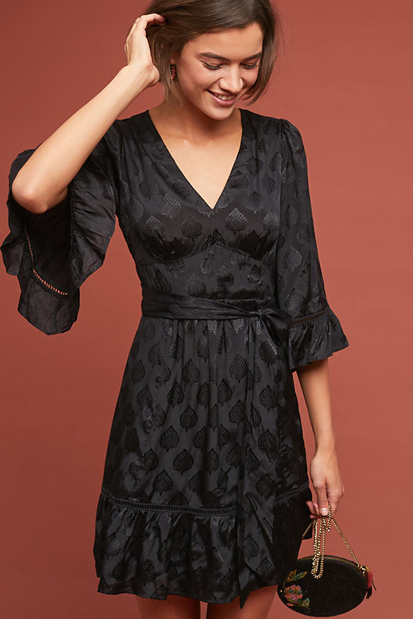 Lorelai Ruffled-Patterned Dress - Black, Size Uk 8