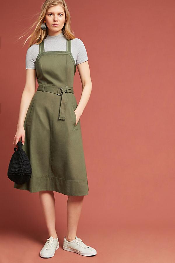 Chino Apron Midi Dress - Green