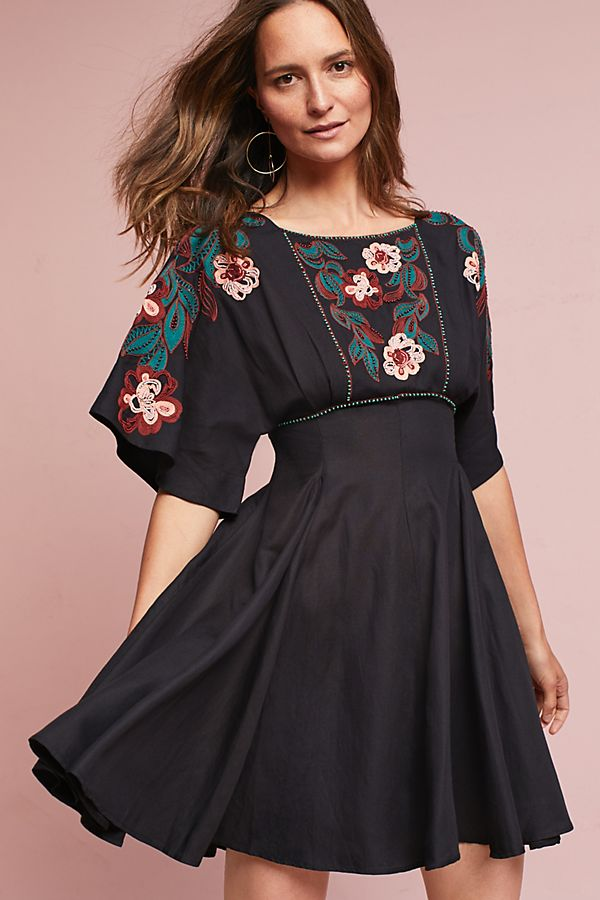 Anthropologie Women Black bardot embroidered dress S18W-1300023569-BCK-6  YUNSOVR
