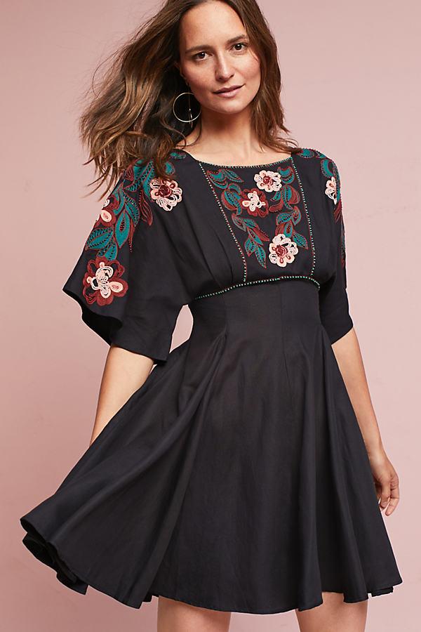 Priscilla Embroidered Dress, Black - Black, Size L