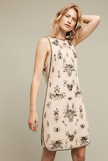 Beaded Foret Dress, Neutral