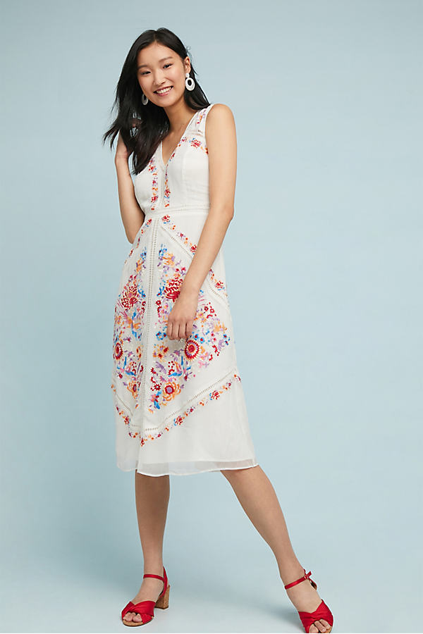 Billie Embroidered Dress - White, Size 12 Petite