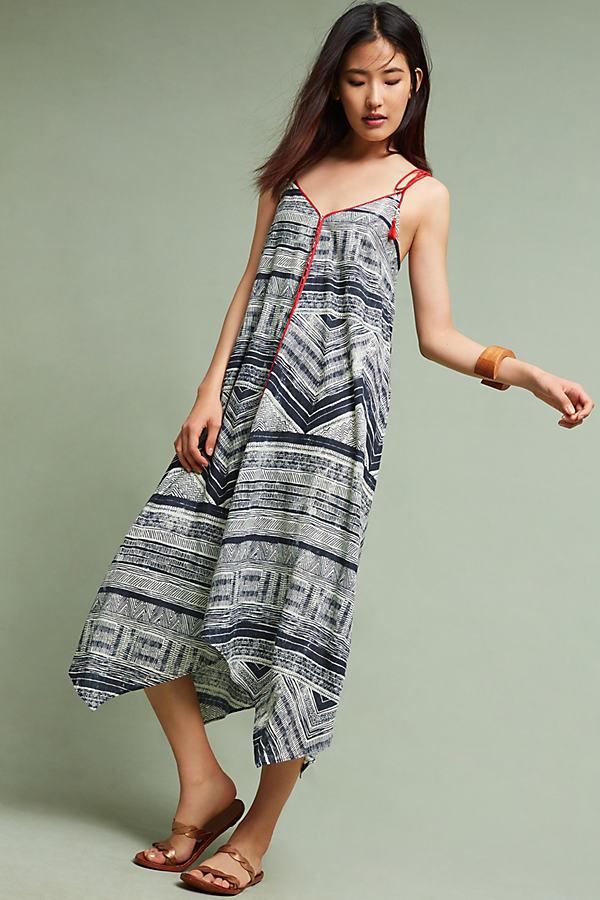 Riviera Tasseled Maxi Dress, Pink - Dark Grey, Size M
