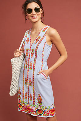 Slide View: 1: Madeline Embroidered Shift Dress