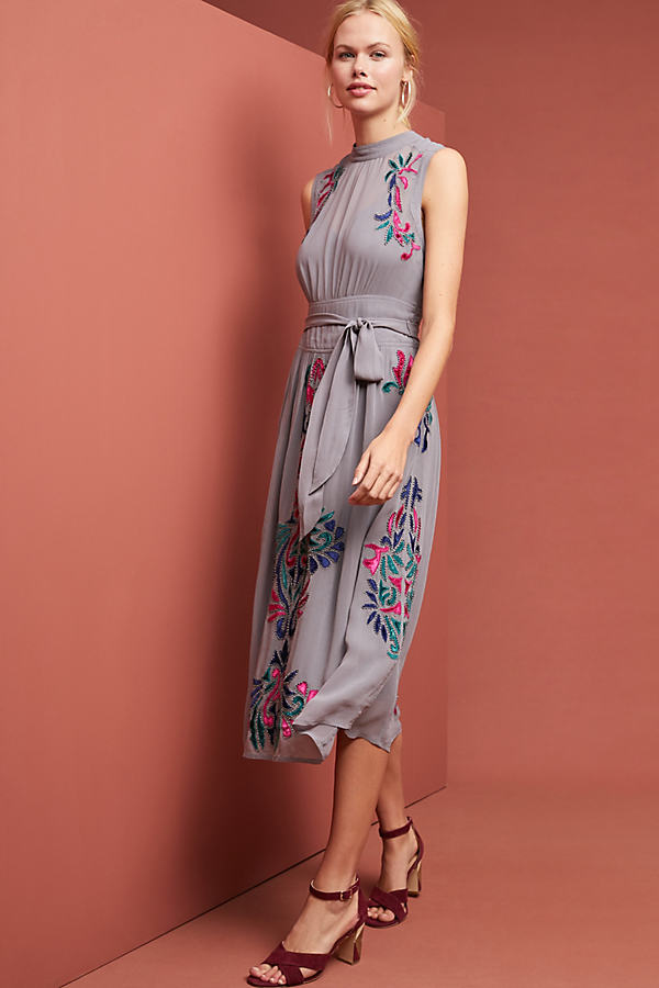 Amy Velvet Maxi Dress - Grey, Size Uk 12