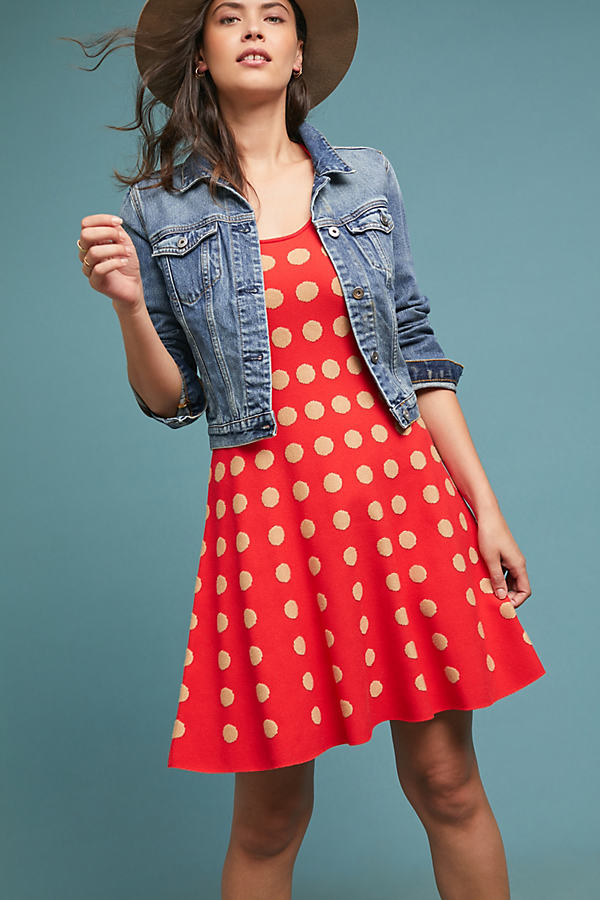 Colourblocked Polka Dot Dress - Assorted
