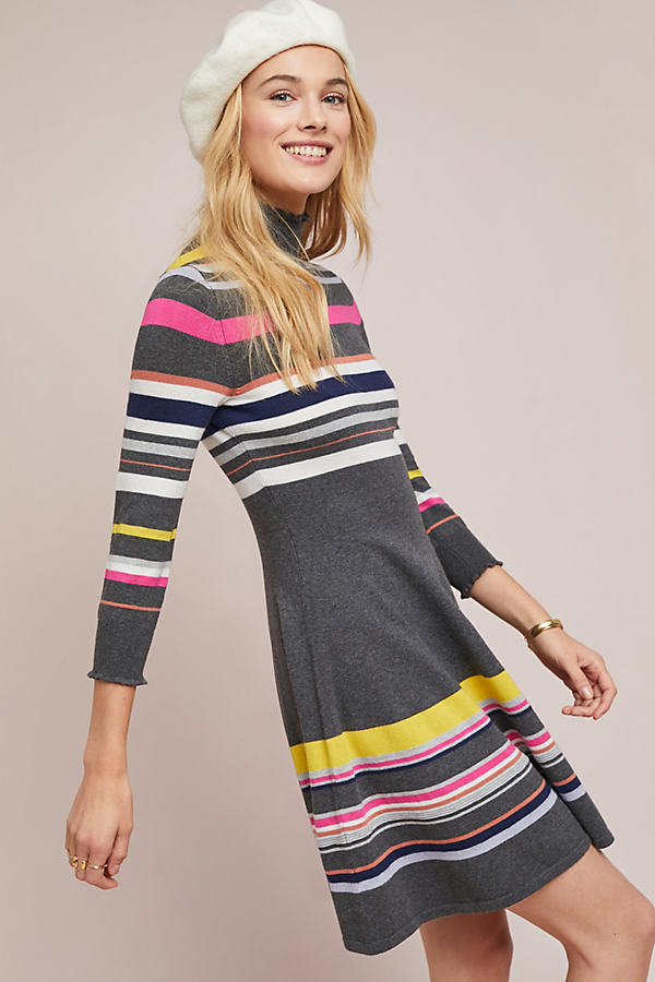Nikki Striped-Turtleneck Dress - Assorted, Size Xl