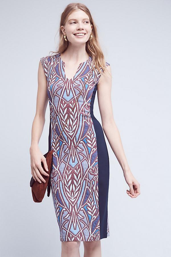 Cleo Jacquard Dress, Blue - Blue Motif, Size S