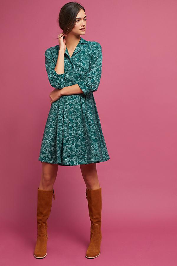 Claris Shirt Dress - Dark Turquoise, Size Xs