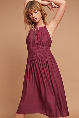 Slide View: 1: Smocked Halter Midi Dress