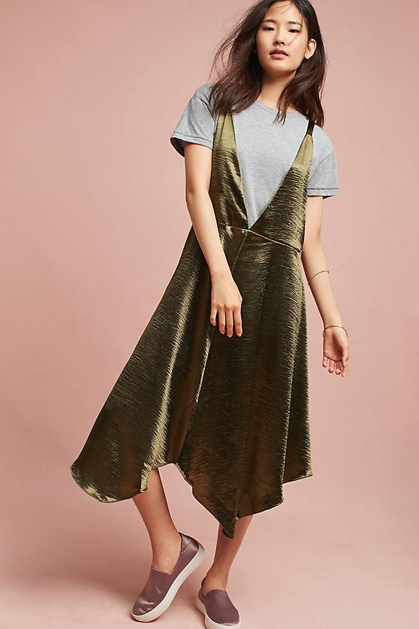 Mearle Tee Layered Slip Dress - Moss, Size M