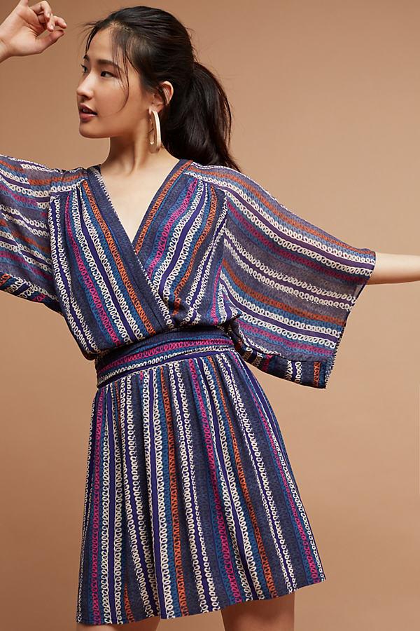 Siya Kimono Dress, Pink - Blue Motif, Size 12 Petite