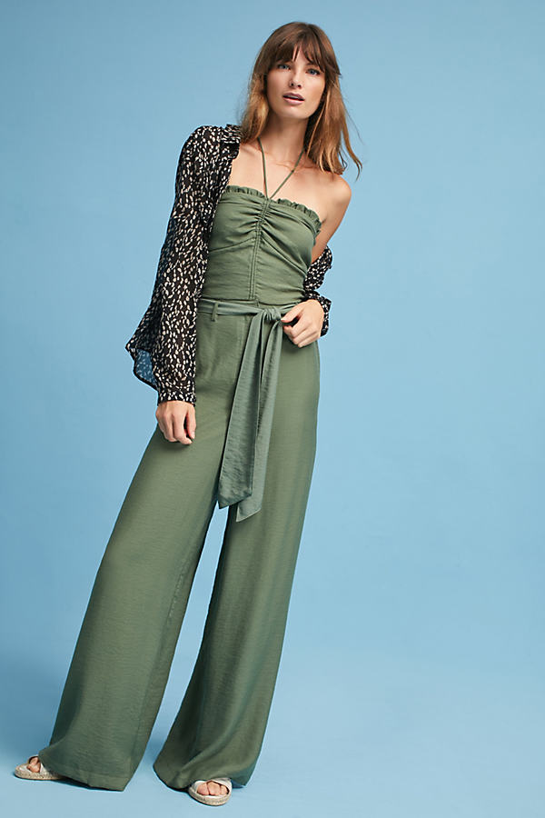 Claire Wide-Leg Trousers, Moss - Moss, Size 16