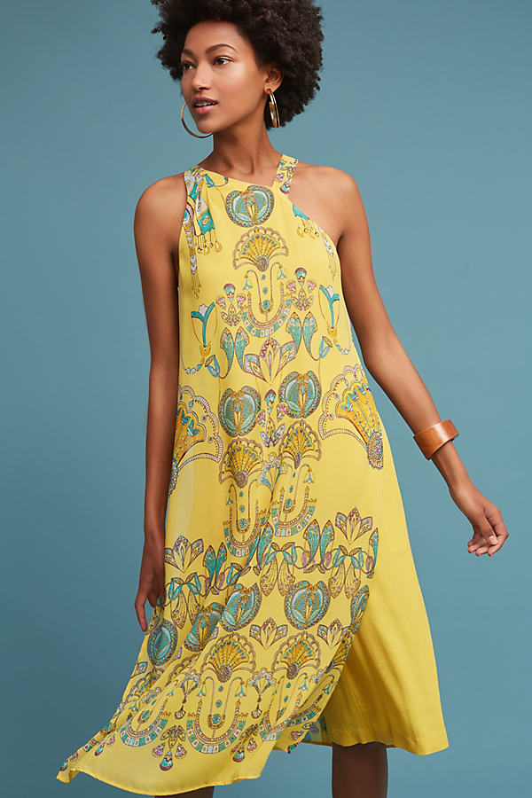 Printemps Halter Jumpsuit, Yellow - Yellow Motif, Size 4 Petite