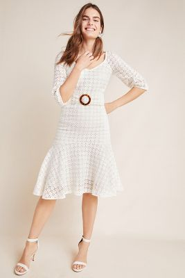 1f09e81710 Embroidered Eyelet Midi Dress