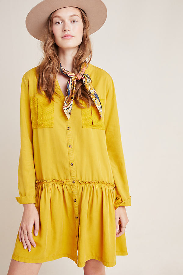 Marlie Button-Front Chambray Tunic - Gold, Size Uk 10