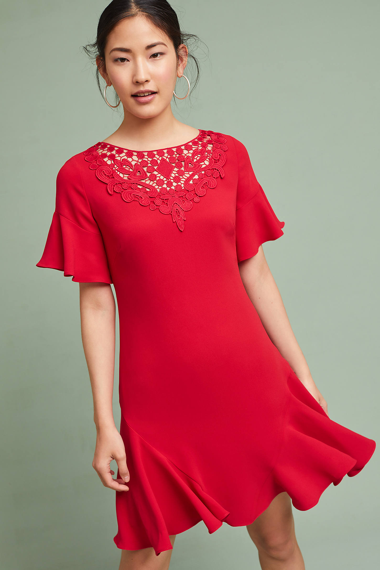 Shoshanna Ruby Ruffled-Sleeve Dress