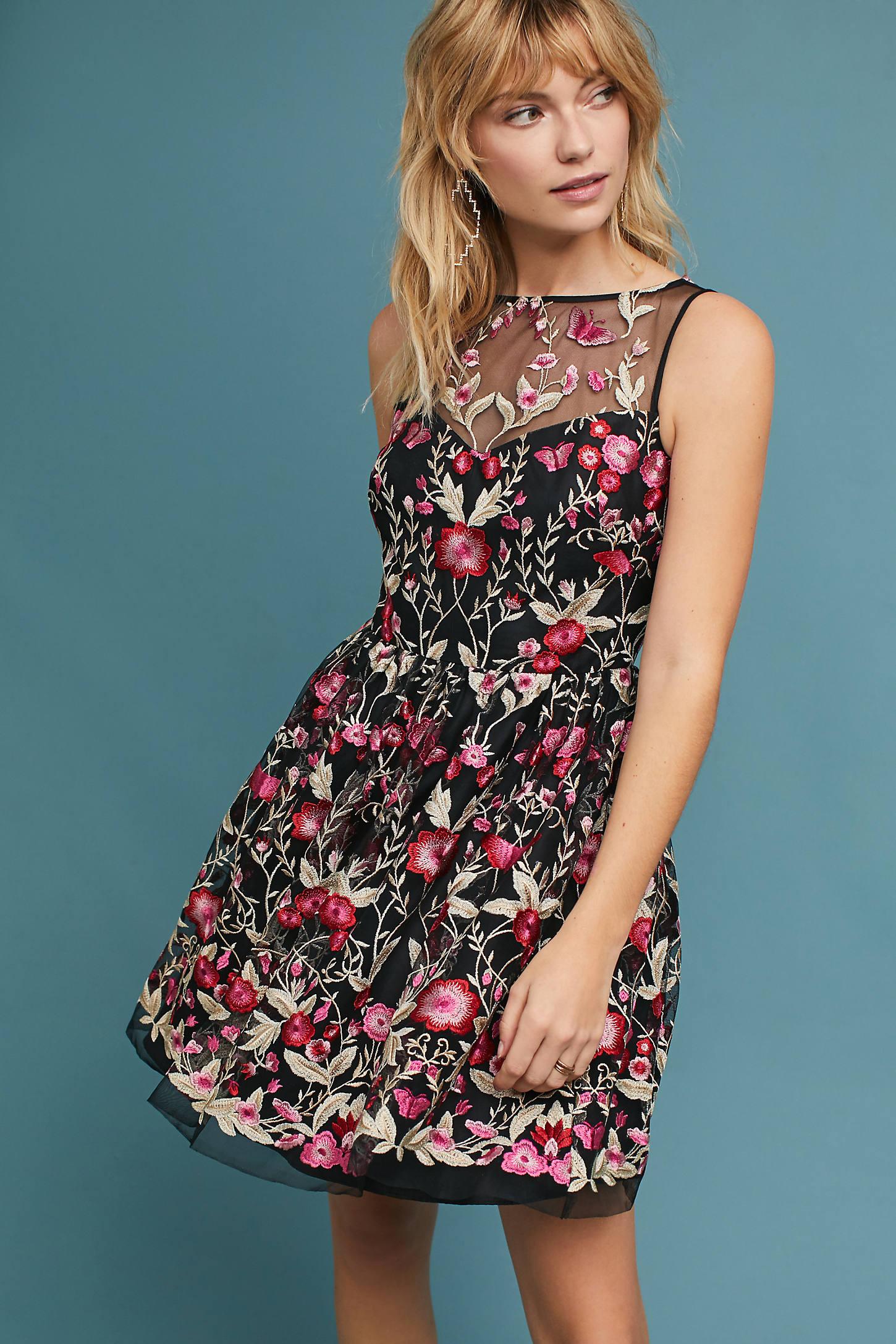 Shoshanna Embellished Floral Dress