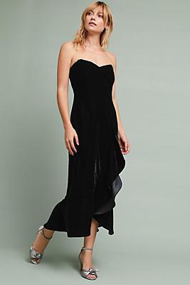 Slide View: 1: Shoshanna Velvet Ruffled Dress