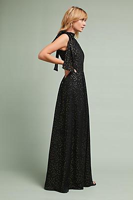 Slide View: 1: Shoshanna Silk Halter Maxi Dress
